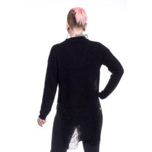 画像2: SLIT NECK DECAY JUMPER / BLACK / ニットトップス【Vixxsin】