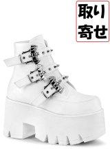 [取り寄せ]ASHES-55/white/厚底ブーツ【DEMONIA】