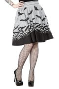 SPOOKSVILLE BATS/GRAY/SWING SKIRT【SOURPUSS】