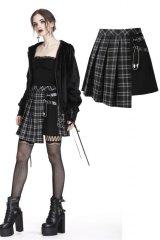 【KW135BK】Grid irregular hem skirt/BLACK/スカート【DARK IN LOVE】